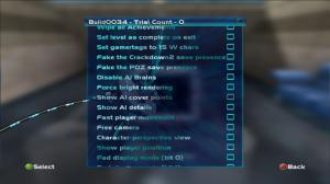 "A screenshot of the developers' debug menu in Perfect Dark XBLA, showing the option ""fake the Crackdown 2 save presence"""